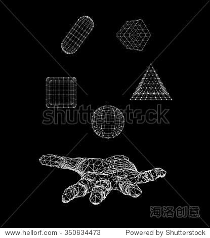 三角形金字塔,球,手臂的立方体,胶囊.多边形三角.多边形的手.
