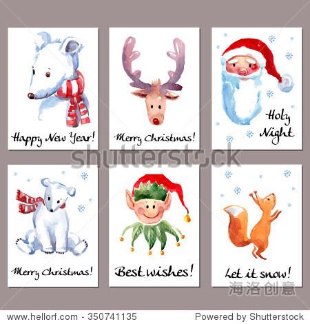 手绘水彩卡北极熊,驯鹿,精灵,松鼠和圣诞老人.圣诞快乐,新年快乐