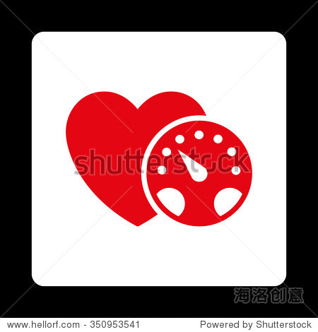 血压仪矢量图标.风格是平的圆形广场按钮,红色和白色的颜色,黑色背景.