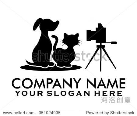 猫狗宠物摄影人物插图标志图标矢量
