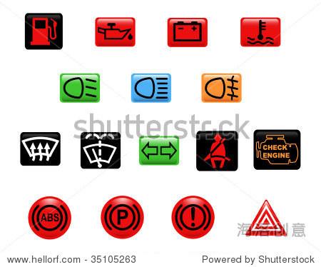 计算机生成的插图.设置的图标:汽车警告灯