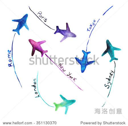飞机与目的地,手绘水彩 - 交通运输 - 站酷海洛创意