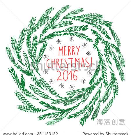 手绘涂鸦矢量插图.圣诞艺术线条图.冷杉树分支花环在.