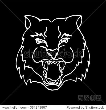 黑白手绘头尖叫着老虎的大牙齿黑白风格,设计可以使用