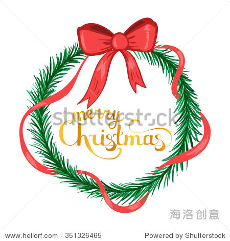 圣诞快乐手绘贺卡或邀请模板与黄金笔迹字体排版和绿色花环和红丝带在