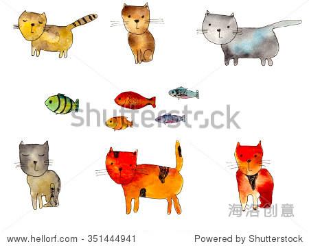 可爱的水彩猫和鱼,手绘插图