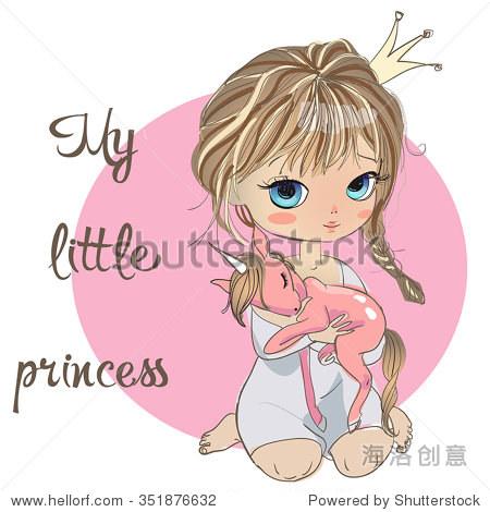 可爱的小公主,粉色独角兽 - 动物/野生生物,人物