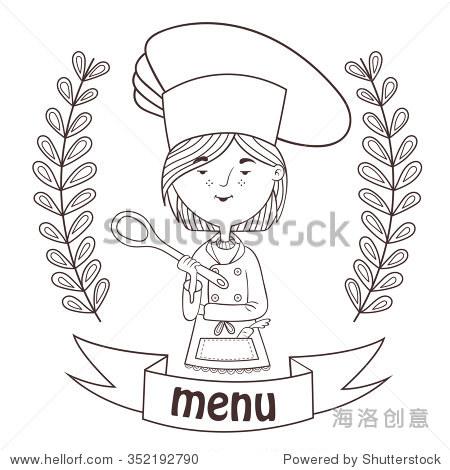 外形可爱女孩厨师烹饪勺子.菜单.标志.向量.