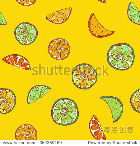 水果无缝橙柠檬片的模式.手绘插图.模式的复古风格.