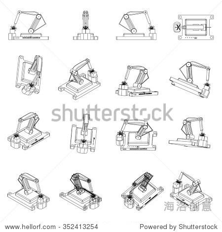 机械手臂.机器人焊机制造过程.矢量插图.