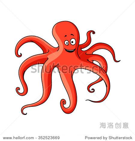 大西洋红章鱼卡通动物长触角和愉快的微笑.海洋冒险或
