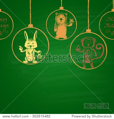 彩色粉笔画水平无缝模式 圣诞球,猴子,兔子,熊 快乐的新2016年的