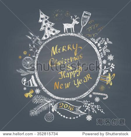 """彩色粉笔画插图与圣诞球,圣诞快乐和新年快乐""""文本和设置不同的节日与"""