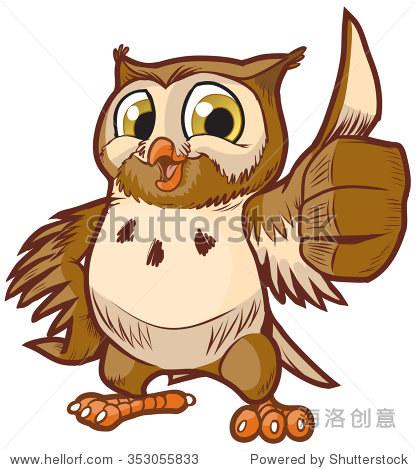矢量动画剪贴画插图的可爱和快乐的猫头鹰吉祥物给大拇指手势 动物