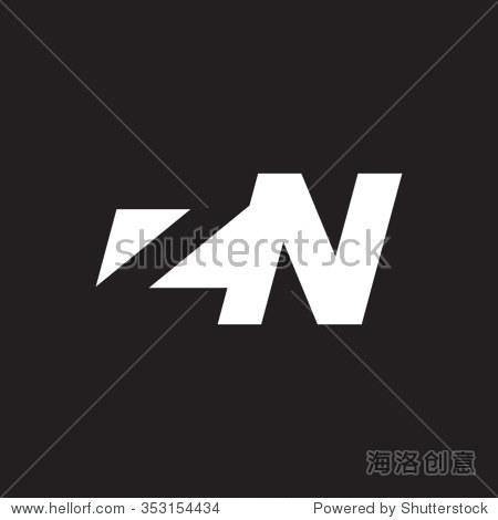 zn negative space letter logo black background