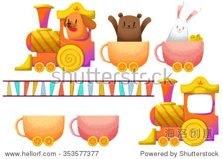 夹条设置:杯和糖果的火车和小动物.
