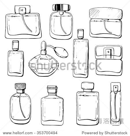 组线性手绘香水瓶.草图.香水的人.美玻璃瓶.