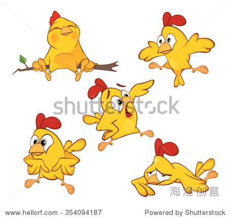 说明一组可爱的卡通黄鸡-动物/野生生物,物体-海洛,,.