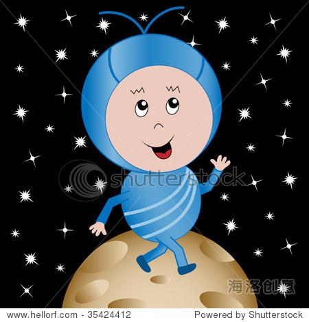 外星孩子快乐在行星在太空行走的卡通人物 光栅也可用 插图 剪贴图图片