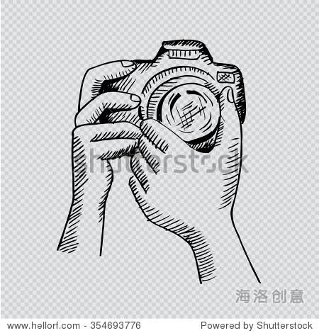 两只手拿着相机.手绘插图.透明背景.
