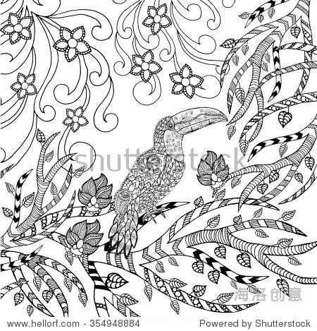动物.手绘涂鸦.民族图案的插图.非洲
