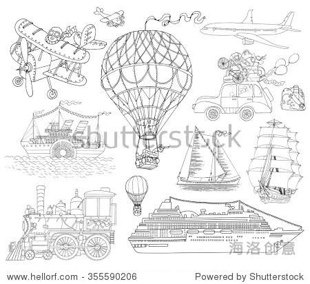 手绘涂鸦集各种运输工具,老式黑白艺术线条插图,气球