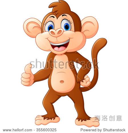 可爱的猴子卡通伸出大拇指