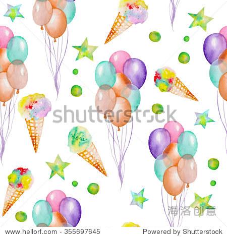 无缝模式与水彩手绘党和马戏元素:空气气球,冰淇淋和星星.