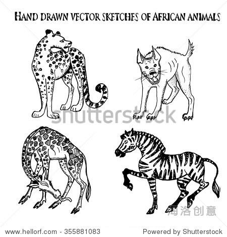 向量墨水手绘草图的非洲动物.猎豹,长颈鹿,斑马和鬣狗