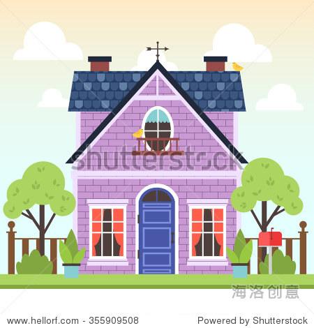 插图可爱的彩色的房子,有树木和小鸟与云渐变背景.矢量平面建筑说明.
