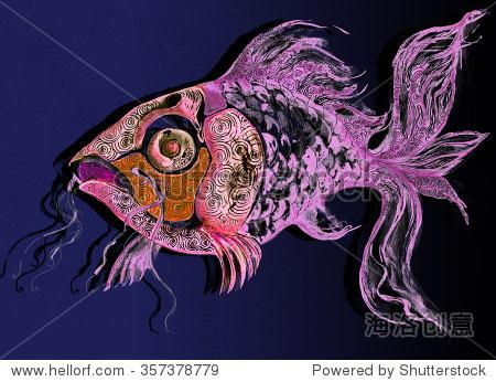 说明鱼水产海洋生物装饰图形画手工加工-动物/野生,及