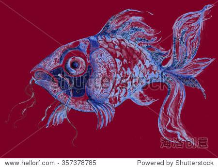说明鱼水产海洋生物装饰图形画手工加工 - 动物/野生
