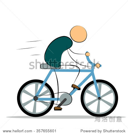 卡通人骑自行车 设计元素 矢量插图 为你的设计运动和平衡的概念 人图片