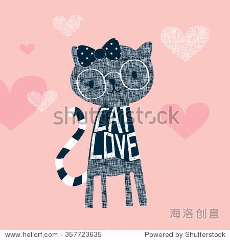 可爱的猫戴眼镜,t恤设计矢量插图
