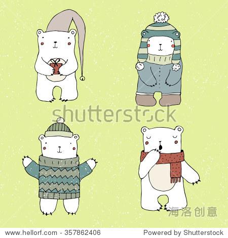 可爱的北极熊在绿色背景.手绘插图在向量.孤立