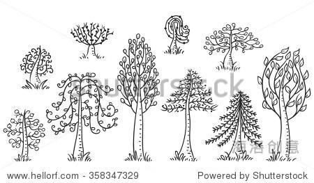 手绘的树木,黑白轮廓
