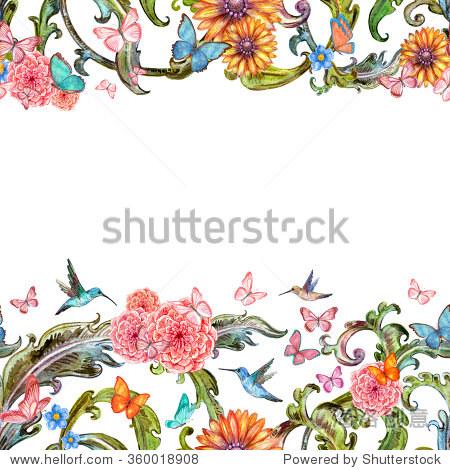 无缝背景蜂鸟的可爱的花朵和蝴蝶飞行.水彩画