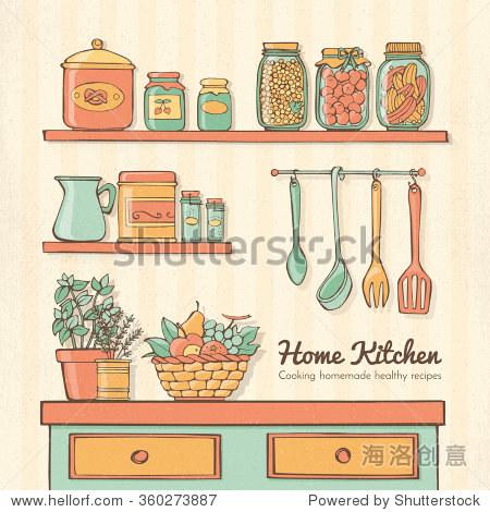 家庭厨房手绘与器具,货架,蔬菜,香草和保存