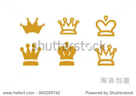 皇冠公主皇后插圖皇家背景圖標集合