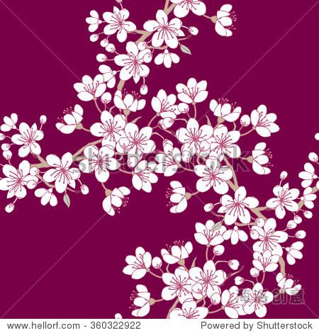 手绘春天开花的树木.矢量图与樱花.