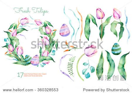 丽的花环 为你的作文的花卉元素 背景 素材,自然 站酷海洛创意正