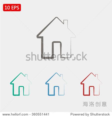 房子图标,矢量图.平面设计风格