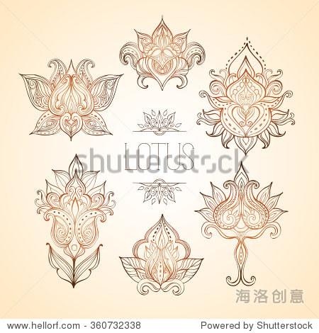 荷花.印度花卉装饰可以用作一个贺卡,着色页面,标志