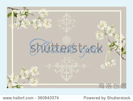 婚礼邀请与水彩苹果树开花树枝感谢卡.婚礼集合.可以用作贺卡.矢量图