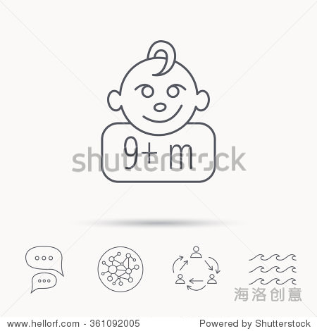 娃娃脸图标.新生儿的迹象.使用9个月和加符号.