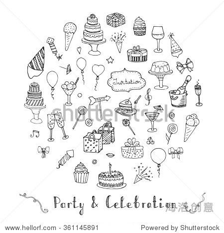 手绘涂鸦庆祝党和概念向量插图粗略党图标设置生日快乐元素狂欢节节日