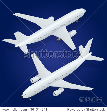 飞机图标.平3 d等距高质量运输客机.车辆设计携带大量
