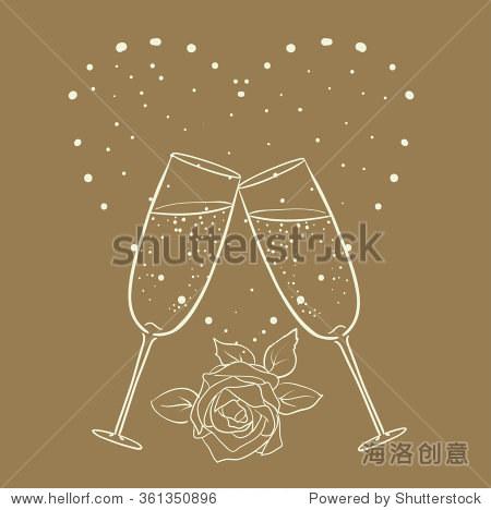 香槟玫瑰和心脏线的艺术画