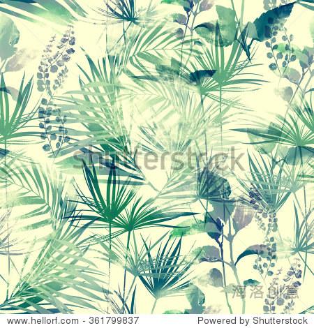冬青属植物和其他热带植物的叶子.数字和水彩画.手绘无缝模式.