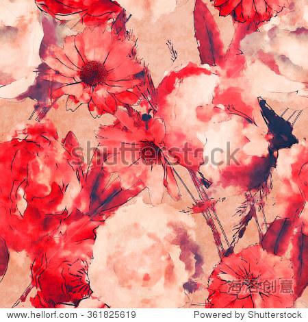 艺术的单色水彩花卉无缝模式与白色和红色粉色玫瑰,紫菀和非洲菊亮